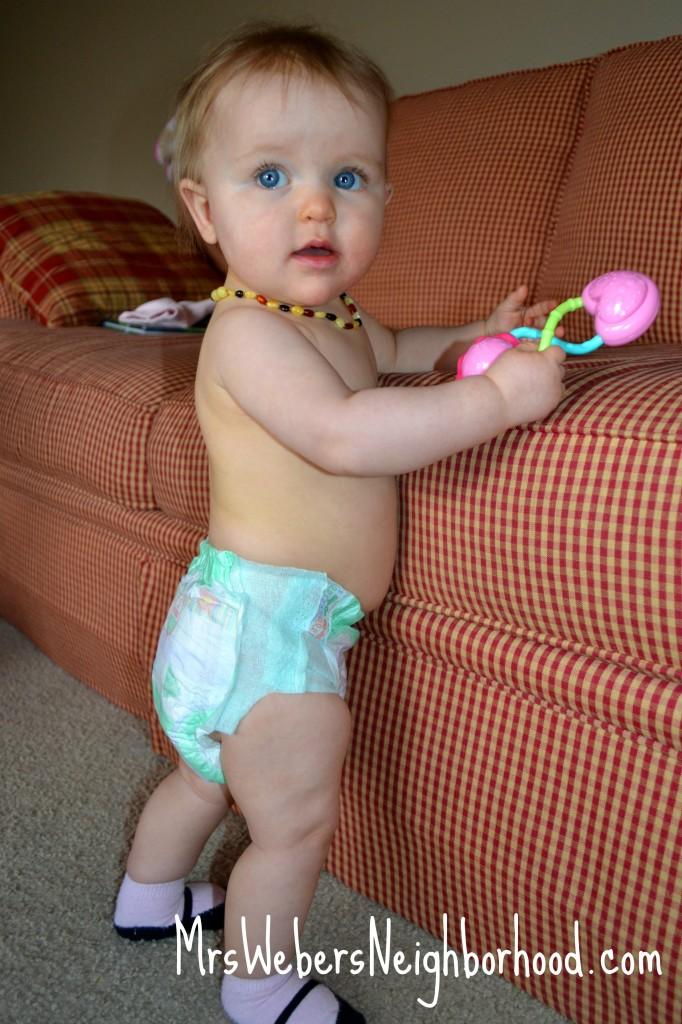Baby in Huggies Slip-On Diapers