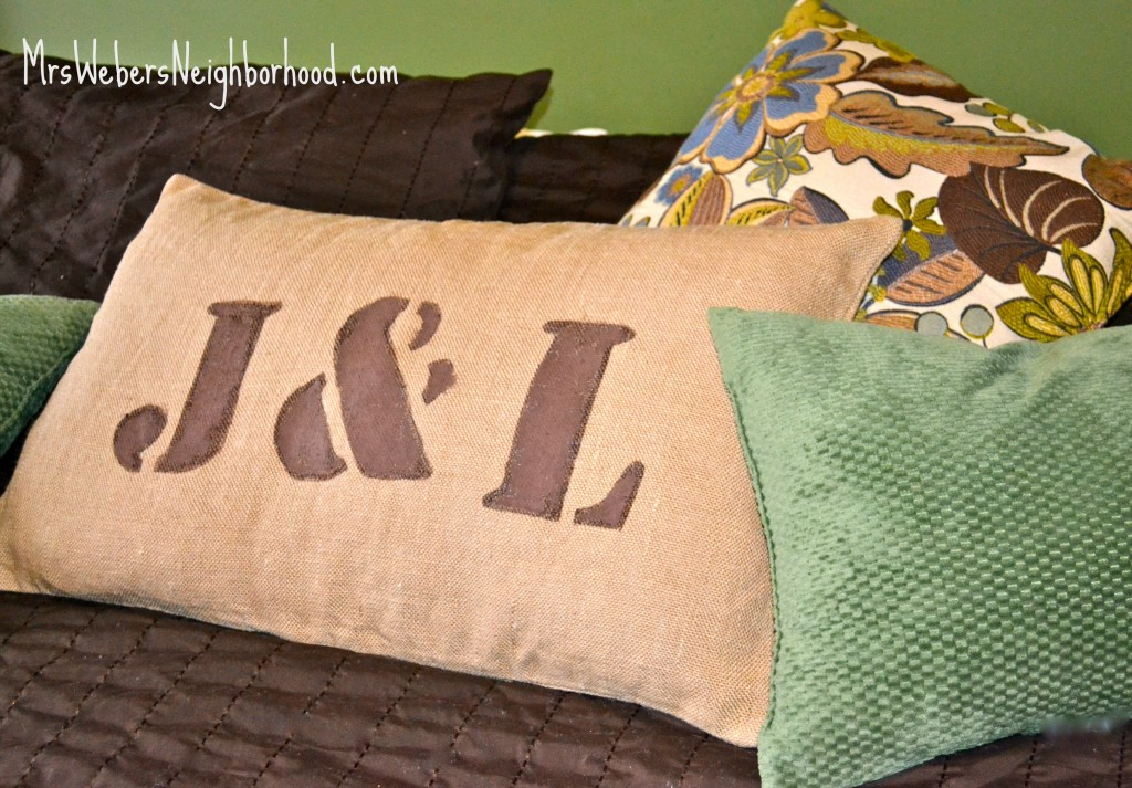 Burlap Initial Pillow
