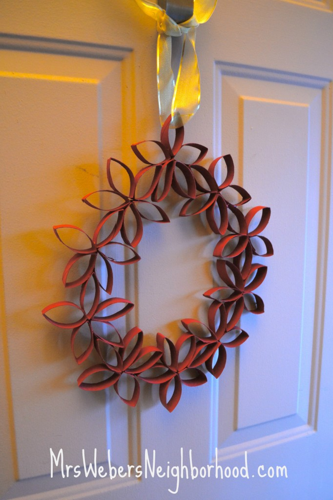 Wreath from Toilet Paper Rolls