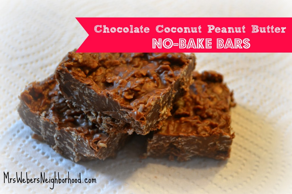 Chocolate Coconut Peanut Butter No Bake Bars