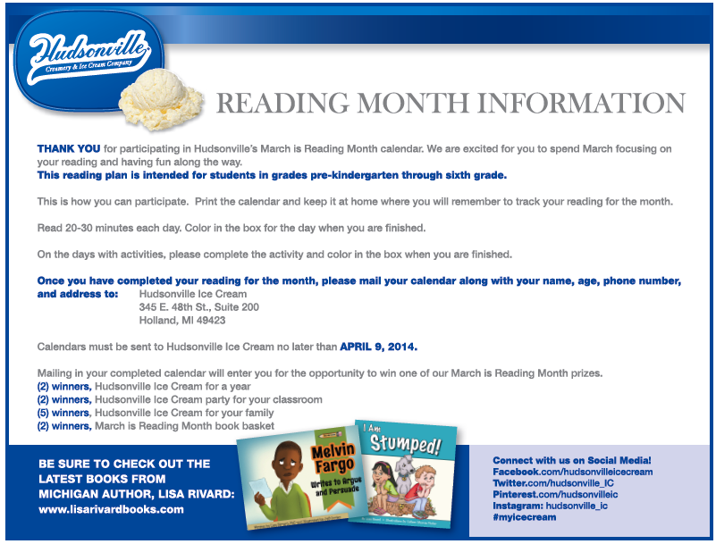 Reading Month With Hudsonville IC