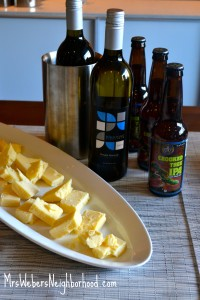 Sharp White Cheddar, Crooked Tree IPA, Pinot Grigio