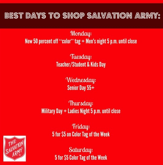 Best Days to Shop at Salvation Army