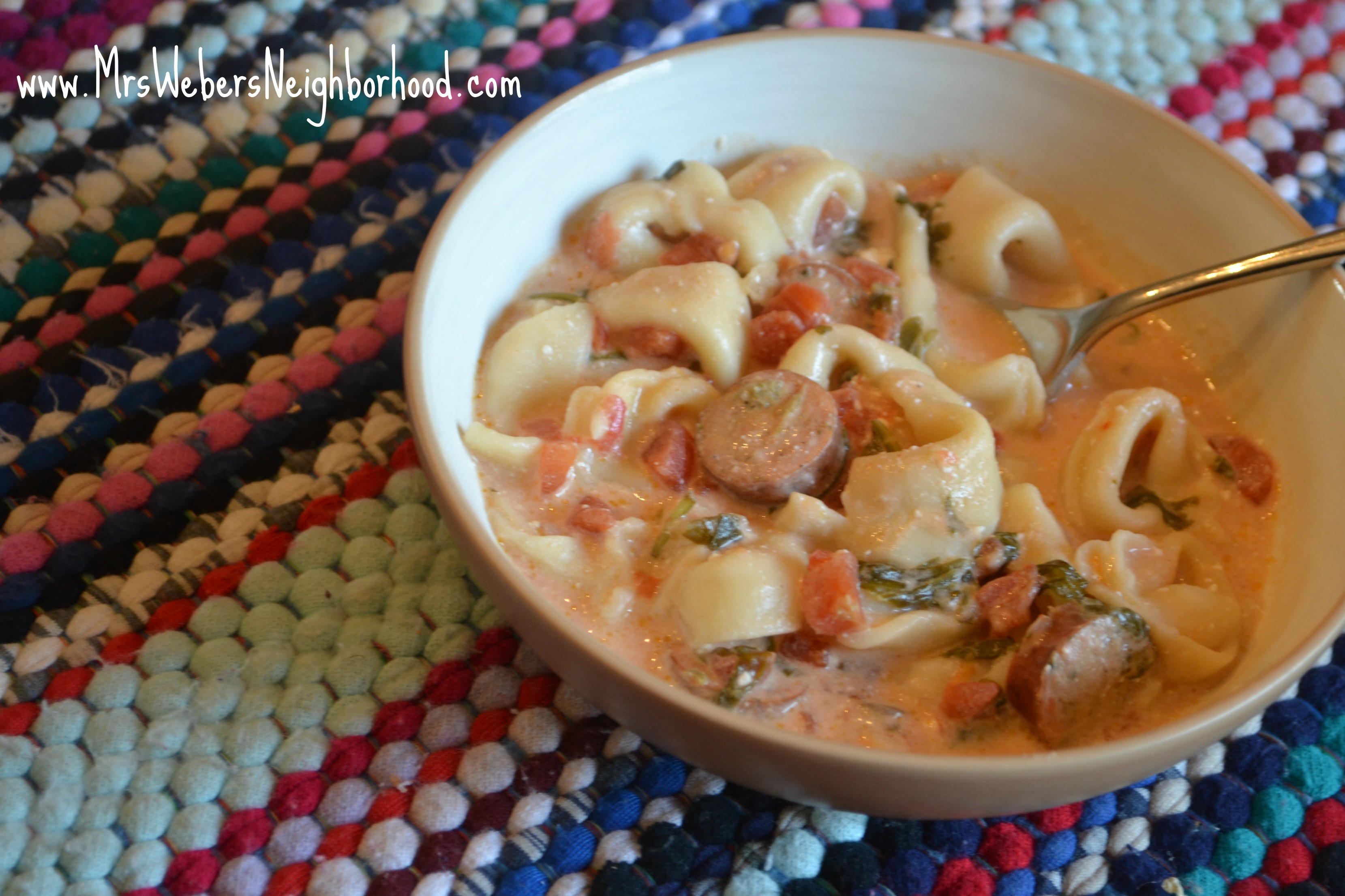 Slow Cooker Creamy Tortellini and Chicken Sausage Soup