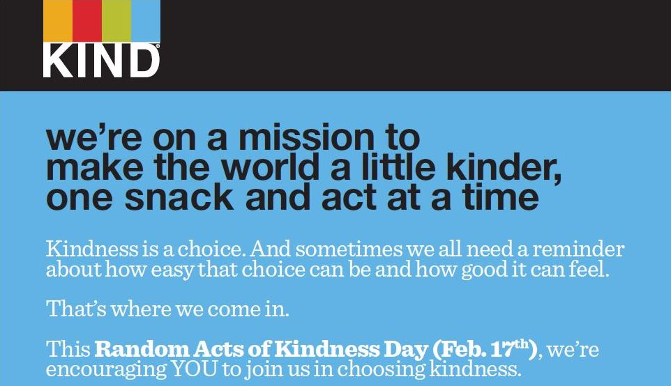 Random Acts of Kindness Day - KIND Snacks