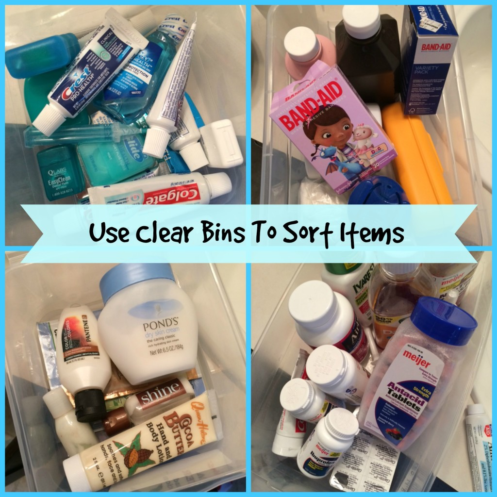 Spring Cleaning Bathroom Tips - Clear Bins