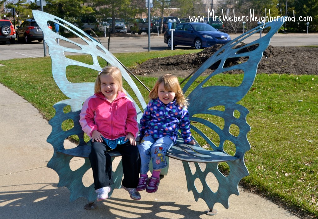 Girls on Butterfly Bench