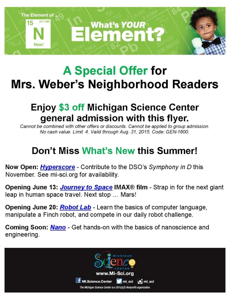 Coupon for Michigan Science Center