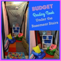 Budget Reading Nook Under the Basement Stairs