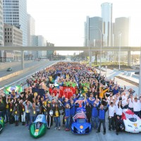 Team portrait on the final day of the Shell Eco-marathon Americas 2015 in Detroit, Mich., Sunday, April 12, 2015. (Bryan Mitchell/AP Images for Shell)