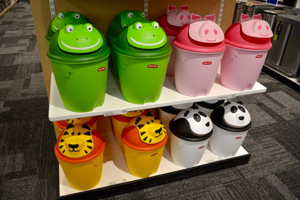 Kid trash cans at The Container Store Novi