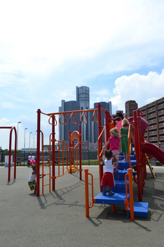 Playground at Rivard Plaza in Detroit